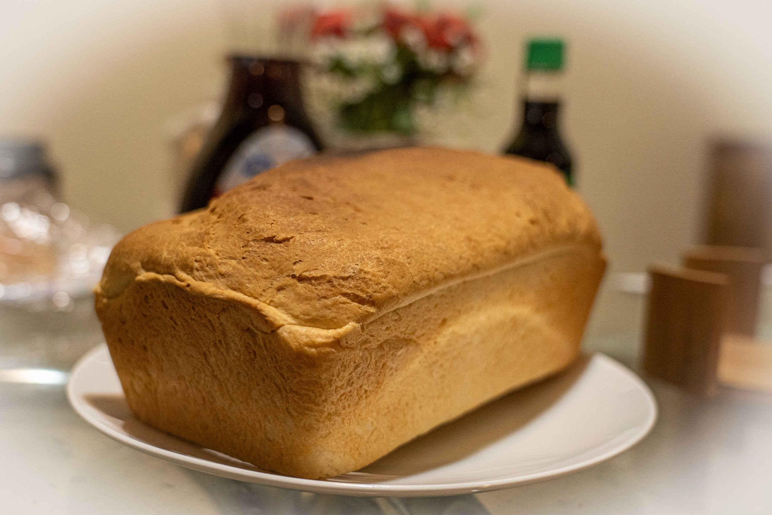 A freshly baked loaf of homemade bread