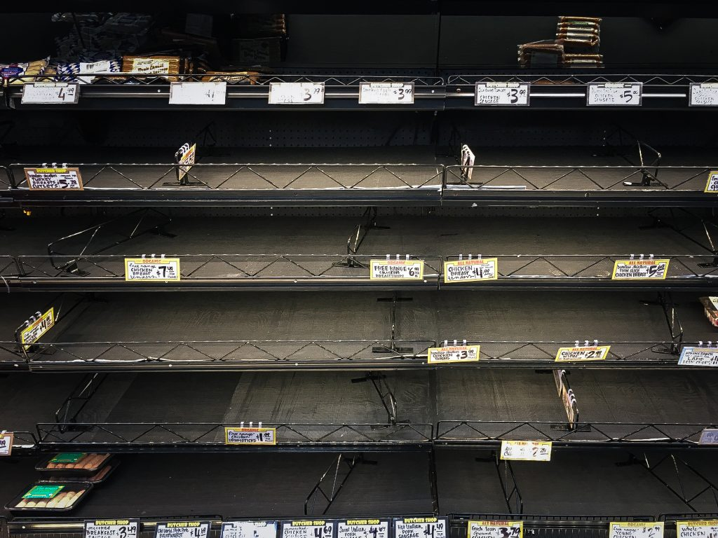 Empty shelves at a supermarket